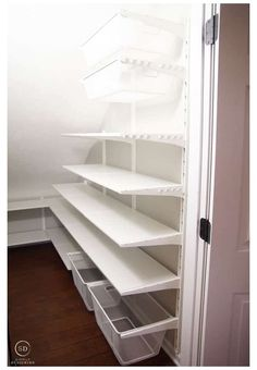 Shelves Under Stairs, Closet Under Stairs, Stair Shelves, Staircase Storage, Closet Shelves, Closet Storage, Basement Storage, Under Stairs Pantry Ideas, Ikea Pantry Storage