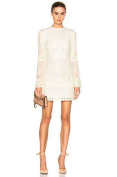 Image 1 of See By Chloe Long Sleeve Mini Dress in Off White