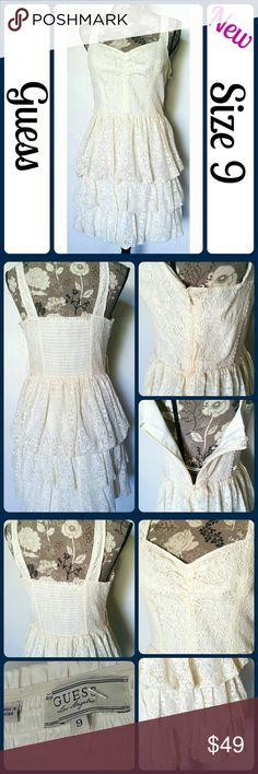 """Sz 9 Guess Lace Dress So cute and perfect dressed up or down! ! Brand new without tags. 80% Cotton, 20% Nylon. Across Bust 19"""", Length 35"""". waist 15"""" across,  No rips, tears, or stains.... From a smoke-free, dog friendly home, No trades (T97) Guess Dresses Midi"""
