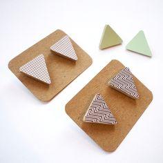 Geometric Triangle Stud Earrings - £8.50