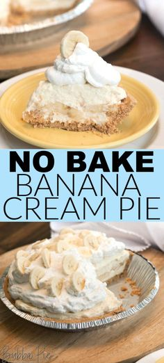 This easy No Bake Banana Cream Pie recipe will give you a blast to the past with old fashioned flavor. Made super simple with instant vanilla pudding mix. This is a great holiday dessert or an awesome way to end a summer picnic! Banana Pie Recipe, Homemade Banana Cream Pie, Banana Pudding Cheesecake, Banana Dessert Recipes, Easy Banana Cream Pie Recipe With Pudding, Old Fashioned Banana Cream Pie Recipe, Banana Recipes No Bake, Bannana Cream Pie, Banana Cream Desserts