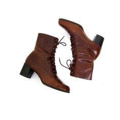Vintage cognac brown leather boots 90s Tall lace up pippi boots Tie up... (3,105 INR) ❤ liked on Polyvore featuring shoes, boots, brown boots, brown knee high lace up boots, lace up high heel boots, tall leather boots and leather knee high boots