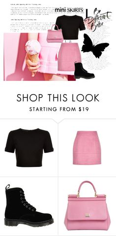 """""""Pink & Black"""" by devin-10 ❤ liked on Polyvore featuring Ted Baker, Dr. Martens, Dolce&Gabbana and MINISKIRT"""