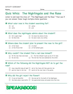 Quiz Whiz: The Nightingale and the Rose | Speakaboos #Worksheets #quiz #education #kids