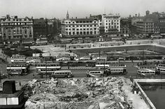Piccadilly Gardens at War    Piccadilly Gardens, considered by many to be at the very heart Manchester, is bounded by air raid shelters in this image from the Second World War. The city was heavily bombed in the Christmas Blitz of 1940 and continued to be an enemy target for some time.  More:  http://www.flickr.com/photos/gmpolice1/7562705162/