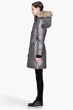 CANADA GOOSE Metallic silver Kensington coat