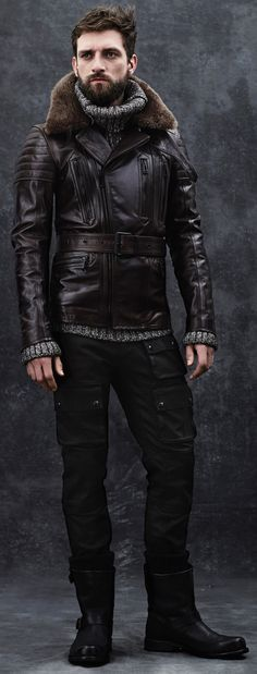 Brown Leather Jacket, and Charcoal Gray Tweeded Turtleneck, by Belstaff.  Men's Fall Winter Fashion.