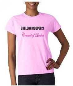 Sheldon Cooper Council of Ladies T-shirt from DesignerTeez