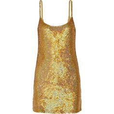 Ashish - Paillettenverziertes Minikleid Aus Seiden-georgette - Gold