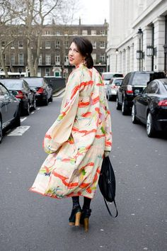 "Alec MacDonald    ""I'm wearing a vintage tea-ceremony kimono, a Topshop dress, Marni for H shoes and a COS bag."""