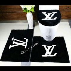 Black Louis Vuitton 3pc Bathroom Rug Set - Glamour Dolls
