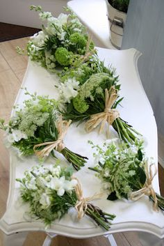 love these simple green & white posies with natural raffia                                                                                                                                                                                 More