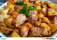 Výpečky s pečeným bramborem aneb 2 v 1 recept - TopRecepty.cz Marinade Sauce, Ham, Sweet Potato, Potato Salad, Recipies, Curry, Food And Drink, Treats, Vegetables