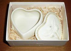 White Bisque Porcelain Trinket Box ~ Heart Shape Faux Pearl Embellishment