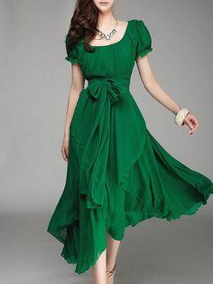 Green Asymmetric Chiffon Holiday Dress with Belt