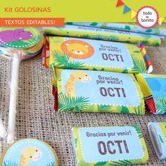 Golosinas personalizadas para imprimir animales de la selva Noahs Ark Party, Jungle Party, Safari Party, Safari Theme, Jungle Theme, Baby Coming, Birthday Favors, First Birthdays, Projects To Try