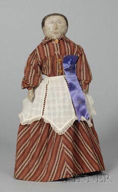 Early Cloth Folk Art Doll, America, 19th century,