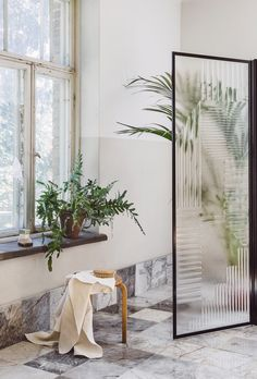 The Sunrise glass wall designed by award-winning Finnish designer couple Saana & Olli Glass Wall Design, Glass Shower, Sliding Glass Door, Glass Collection, Wall Treatments, Recycled Glass, Glass Screen, Lily, Inspiration