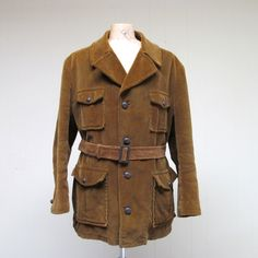 Vintage 1960s 1970s Mens Coat / 60s 70s Brown Corduroy Norfolk Jacket  / Extra Large. $65.00, via Etsy.