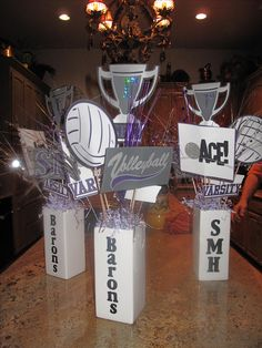 Volleyball centerpieces for senior dinner in school colors Volleyball Birthday Party, Volleyball Quotes, Volleyball Gifts, Coaching Volleyball, Volleyball Players, Volleyball Ideas, Volleyball Drills, Volleyball Pictures, Volleyball Decorations
