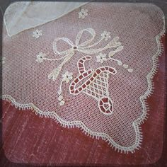 Antique Wedding french Square Hand embroidered on net Handkerchief White Hanky