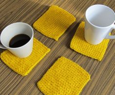 Yellow Hand Knitted Coasters set of handmade protectors/ placemats, Valentines gifts, Mothers day gifts, Knitting Accessories, Coaster Set, Valentine Gifts, Hand Knitting, Mothers, Decorations, Make It Yourself, Ornaments, Yellow