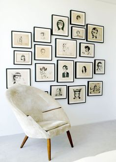 Love to have a black and white gallery wall!