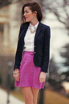 Love the pink/purple skirt and navy blazer combo // Classy Girls Wear Pearls