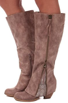 Lime Lush Boutique - Taupe Overlay Zipper and Lace Detail Boot, $89.99 (http://www.limelush.com/taupe-overlay-zipper-and-lace-detail-boot/)