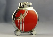 Rare 1930s Art Deco Red Enamel Ronson Rondette Table Lighter h
