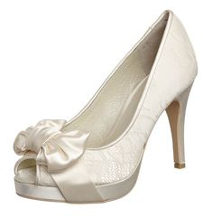 ivory peep toe bow wedding shoes with lace detail