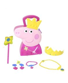 Peppa Pig dreams of being a Princess and now you''re little one can too with this wonderful Peppa Pig Jewellery Case!Featuring a necklace, earrings, a ring, a bracelet, a wand and a crown your little one can have hours of dressing up fun! The handy case neatly stores all the jewellery, and is ideal for taking on journeys, sleep overs or weekends away.