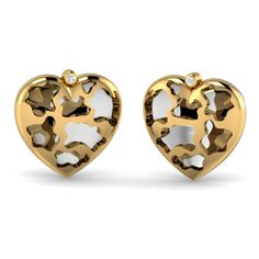 Your lover will be extremely happy by receiving this love heart stud from you on this Valentine's Day as gift. This stud is intricately carved by our craftsmanship with single CZ stones which makes you love strong and unique. Heart Of Gold, Love Heart, Gold Jewellery Design, Gold Jewelry, Heart Earrings, Stud Earrings, Valentines Day Hearts, Jewelry Shop, White Gold