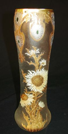 : Mont Joye Legras Etched Satin Glass Vase with Gold Gilt Decoration and Embossed Sunflowers