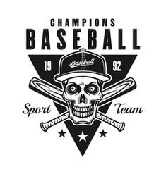 Skull baseball mascot Royalty Free Vector Image Free Vector Images, Vector Free, Baseball Batter, Baseball Mascots, Vintage Black, Badge, Champion, Royalty, Skull