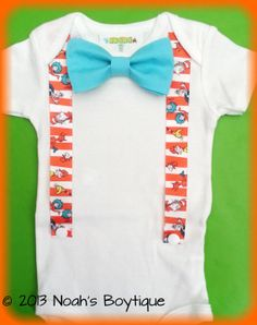 Dr. Seuss Birthday Outfit - Baby Boy Clothes - Dr. Seuss Birthday Shirt Baby Boy - Dr. Seuss Theme Birthday - Suspender Bow Tie Bodysuit
