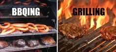 Difference between: barbecuing and grilling.