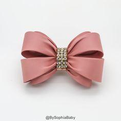 Pale Pink Bow Hair Clip, Girls Hair Bow , Big Bow Hair Clip, Wedding Hair Clip…