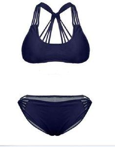 Navy Blue Push Up Strappy Bikini Bathing Suits