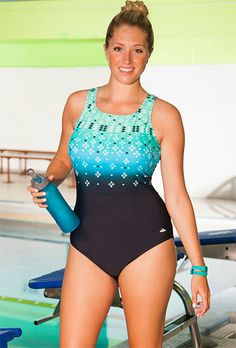 Aquabelle Citrine Plus Size High Neck Swimsuit. Keyhole back. Chlorine Resistant. Swimsuits For All.  $43.40