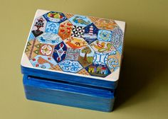 Mosaic In Blue Hand Painted Wooden Box / Jewelry Box by IgnafioArt, $35.00