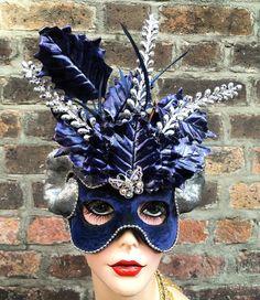 #Silver and #navy #blue #Aries #mask #masqueradeball #glamour #fashion #art #MardiGras #frenchquarter #neworleans #halloween #handmade #cosplay #fantasy #highfashion #lady #nola #party #visualart #visualmerchandising #followme by maskarade_nola