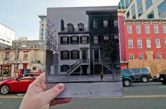Nostalgic photos comparing past to the present.