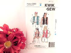 Lined Vest Sewing Pattern Kwik Sew 2261 Misses Size XS-XL Four Styles Clothing | eBay