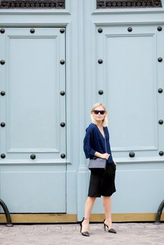 Jessie Bush of We the People takes on Paris in a minimal and tailored look wearing the Tibi Silk Culottes.