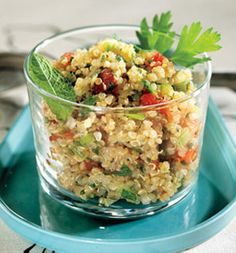Alison Sweeney's Quinoa With Spinach and Feta INGREDIENTS 1 tablespoon olive oil 1/4 cup chopped onion 2 garlic cloves, finely chopped 1 cup quinoa 2 cups chicken stock 1 avocado, cut into bite-size pieces 1/2 cup cherry tomatoes, halved 1/2 cup chopped spinach 1/3 cup crumbled feta