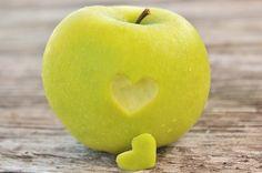 Food Photography Heart Green Apple Kitchen Art by LongForgotten, $7.00