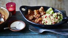 Moroccan Lamb Tagine with Lemon and Pomegranate Couscous... I love making tagine, the flavours are just so delicious!  Add some raisins to the couscous for extra substance!  #food #recipe #dinner #meal