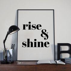 Rise and Shine Digital Print, Rise & Shine Printable Wall Art, typography…