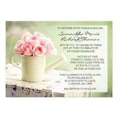Rustic Pink & Mint Country Garden Wedding Invitations